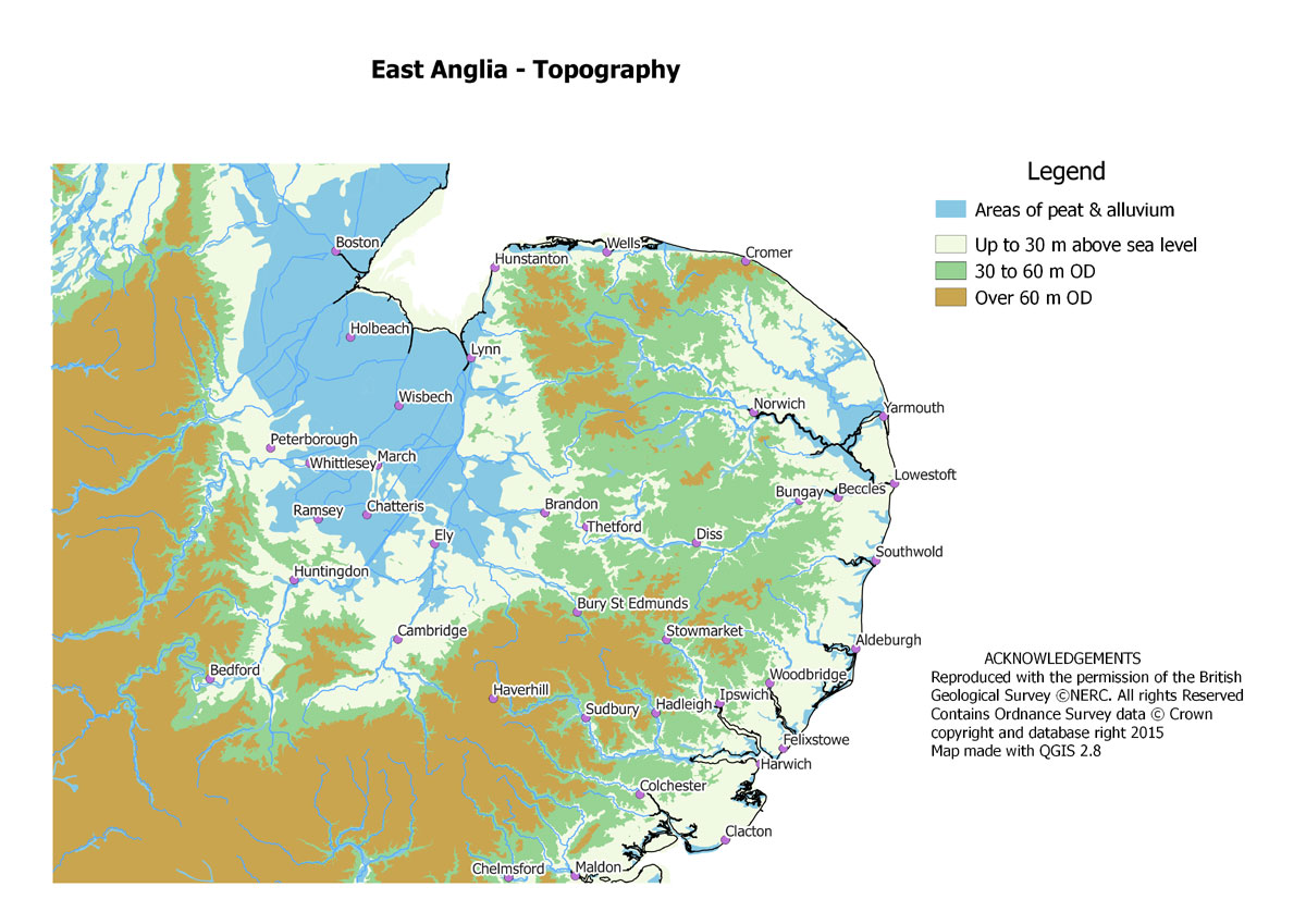 Map Of England East Anglia.St Edmundsbury Local History Local Maps Home Page
